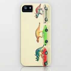 Dinosaurs Ride Cars iPhone & iPod Case by Cassia Beck - $35.00
