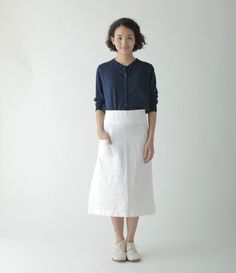 Cindy Skirt: White, showing the patch pocket, and wide waistband. Fog Linen.