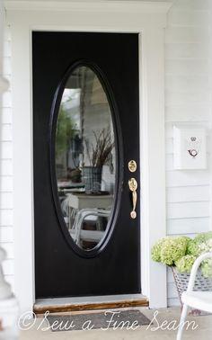 Front Door Redo by Sew a Fine Seam Black Front Doors, Front Doors With Windows, Wooden Front Doors, Painted Front Doors, Rustic Doors, Glass Front Door, Black Door, Door Redo, Front Door Makeover