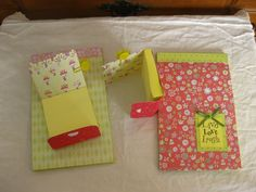 Notepad covers. Use this idea for my 9 year old girl's birthday party craft project.