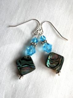 Abalone and Blue Crystal Earrings | ClaireMDesigns - Jewelry on ArtFire