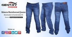 """✔️ Motorcycle Riding Reinforced Men Slim Fit Blue Bikers Jeans Pant ✔️ High Quality and Lowest Prices 🌐 Checkout @ """"Gentry Choice"""" Biker Shop, Kevlar Jeans, Scottish Clothing, Oktoberfest Costume, Biker Wear, Motorcycle Jeans, Safety Clothing, Slim Fit Pants, Denim Fabric"""