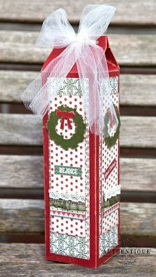 A Traditional Christmas Gift Idea wine bottle box... love this could also fill with candy or biscuits.