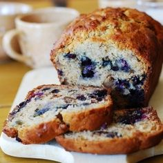 Banana bread with blueberries recipe.