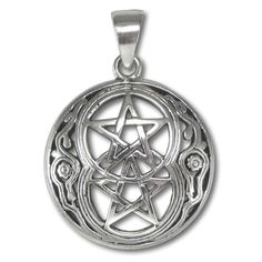 Pewter Chalice Well Pentacle Pentagram Pendant Wiccan Pagan Avalon Jewelry