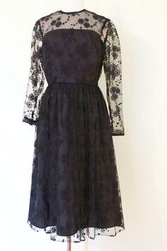1970s Berkertex black lace dress /vintage sheer by inheritedattire