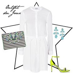 Outfit du Jour: White, stripy and neon