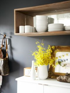 open kitchen shelving, gray, white, wood, yellow.  I love gray and yellow everywhere.  And white dishes are always beautiful.  Love.