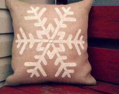 Snowflake Burlap Pillow Cover