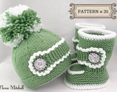 Knitting PATTERN Baby Set Baby Shoes Knitted Baby Hat Pattern Baby Booties Baby Uggs Infant Pattern Baby Boy Baby Girl Pattern ( PDF file )