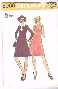 "Vintage 1970's Sewing Pattern Simplicity 5966 Front Detail Dress B 32.5"" UNCUT #Simplicity"
