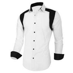 Wholesale-Men Shirt Tuxedo Designer Contrast Color Classic Simple Male Clothes White Royal Blue Turn-down Men's Clothing Accessories white designer shirts ...