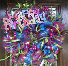 Deco Mesh HAPPY BIRTHDAY WREATH by decoglitz on Etsy
