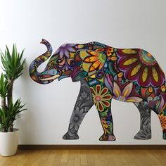 Floral Elephant Wall Sticker Decal - Peel & Stick and Removable - http://decorwalldecals.com/floral-elephant-wall-sticker-decal-peel-stick-and-removable/