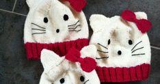 Ja da var jeg ferdig med Hello Kitty lua nr.1 -2 og 3 he he Den første jeg strikket så jeg jo at ble alt for liten til Lilly så da felte je... Hello Kitty, Harry Potter, Winter Hats, Knitting, Long Scarf, Pink, Threading, Tricot, Breien