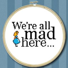 We're all Mad Here - Alice in Wonderland Cross Stitch Chart (PDF). £2.95, via Etsy.