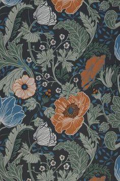 More Wallpaper, Wallpaper Samples, Pattern Wallpaper, Green Wallpaper, Papier Paint, Art Nouveau, Motif Art Deco, Vintage Floral Fabric, Paint Shop