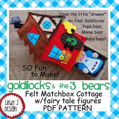 FAIRY TALE MATCHBOX Cottage 2 Goldilocks and the 3 Bears Felt