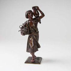 Henri Honoré Plé (1853 - 1922) Bronze-Skulptur 'Orientalischer Wasserträger' Frankreich, Anf. 20. — Skulpturen, Plastiken, Installationen, Bronzen, Relief