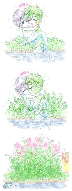 Cuddles ...  Nature spirit story 3 ... Drawn by racyue ... Free! - Iwatobi Swim Club, haruka nanase, haru nanase, haru, free!, iwatobi, makoto tachibana, makoto, tachibana, nanase
