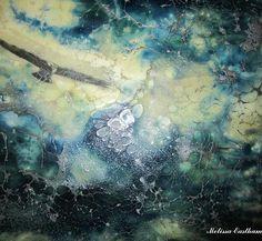 """Windy Day 1 (detail 1) By Melissa Eastham blue encaustic shellac burn painting www.encausticdreams.com"