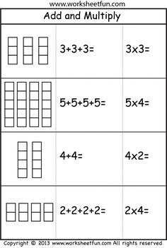 Add and Multiply - Repeated Addition - 2 Worksheets