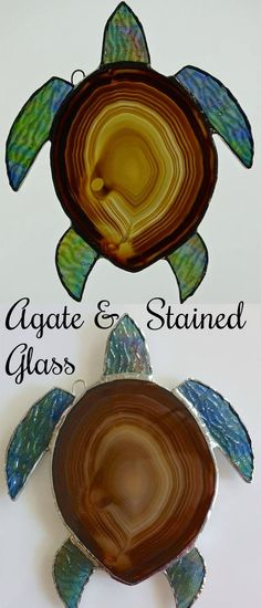 Turtle With Agate & Stained Glass, handmade #ad #Etsy #turtle