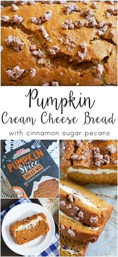 Pumpkin Cream Cheese Bread with Cinnamon Sugar Pecans