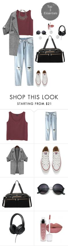 """""""Need to travel for a casual meeting? be comfortable but still chic"""" by vtaishaa ❤ liked on Polyvore featuring Monki, Converse, Baggallini, Bose, women's clothing, women, female, woman, misses and juniors"""