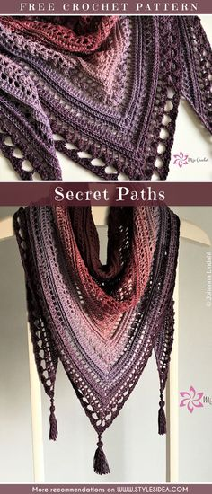 Secret Paths Shawl Crochet Free Pattern #crochetscarf #crochetfreepattern #crochetshawl