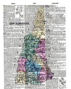 Historical Antique Map of New Hampshire by KFLGetsHerFunkOn  Know anyone from New Hampshire who has relocated? This would make a lovely home decor gift to remind them of home!