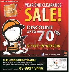 31 Oct-9 Nov 2014: The Living Depot Year End Clearance Sale for Home Decoration & Hardware