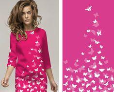 Růžová látka s motýlky by mohla být skvělou volbou na léto. Líbila by se Vám tota látka na letní šaty?