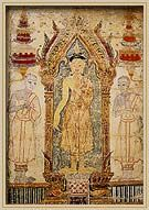 Phra Bot, sacred cloth. Fragment of a painted cotton banner, beginning of the Bangkok School, 18th - 19th centuries.