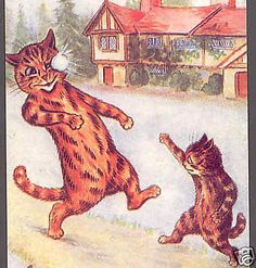 MINT..! LOUIS WAIN,CATS HAVE FUN SNOWBALL FIGHT,CHRISTMAS REPRODUCTION ART CARD