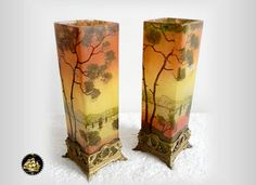 Pair of French art glass vases with enamel lake by RareAndFair
