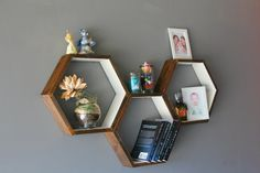 Geometric Hexagon Shelves, Storage Shelves, Honeycomb Cubby Shelves, Wall Shelving, Toy Storage, Modern Home Decor, Set of 3 Custom Shelves  Beautiful Geometric Hexagon Shelves - set of 3, hand crafted from the pine solid wood. Great for gifts, or house warmings as well as birthdays, anniversary gifts idea for parents, husband, for him. Interior design of kitchen, bedroom and living room.  Available approximate dimension from outside point to outside point: 12 (W) x 11 (T) x 3.5 (D) 12 (W) x…