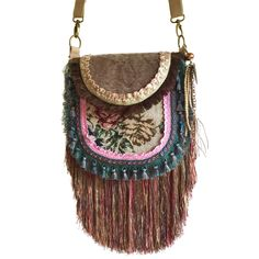 0e249e6219d Unique crossbody vintage style with roses, khaki old pink. With very long  fringes, ribbon and lace.