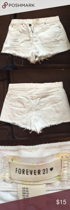 high rise distressed white denim shorts size 25 super cute and trendy. never worn, too small for me :/. forever 21 brand Forever 21 Shorts