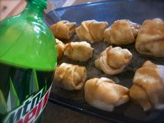 Easy crescent roll apple dumplings - one apple slice in each crescent roll then covered with a syrup of butter, brown and white sugar and vanilla.  Sprinkle with cinnamon then pour a 12oz can of Mountain Dew around the edge of the pan before baking!
