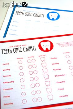 A great resource to send home when learning about dental care. Taking Care of Tiny Teeth-Tips and Free Printable Teeth Care Charts