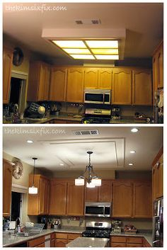 How to Replace a Fluorecent Box Light and Shave 30 Years Off Your Kitchen via TheKimSixFix.com  #TheKimSixFix
