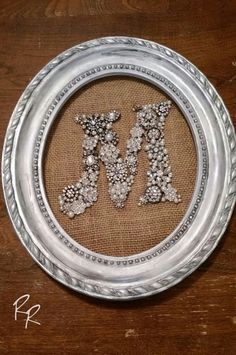 Upcycled Rhinestone Brooch Initial, Antiqued Frame, Wedding, Shabby Chic, Rustic  Let me create an initial for you, made from upcycled