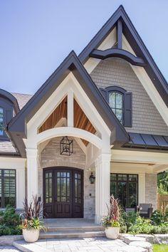Nice Cozy Farmhouse Exterior Design Ideas That Looks Cool. Dream House Exterior, Exterior House Colors, Exterior Homes, Exterior Paint Colors For House With Stone, Exterior Paint Ideas, Stone On House Exterior, Black Trim Exterior House, House Exterior Design, Outdoor House Colors
