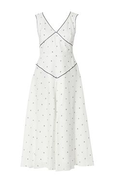 Sleeveless Polka Print Contrast Pipping Midi Dress by GüL HüRGEL for Preorder on…