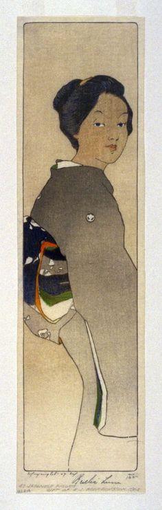 Japanese Figure (Panel). Bertha Lum woodcut