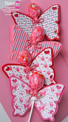 Helen over at Twine It Up! with Trendy Twine: Crafting Inspiration Day 5 w/ F. Bloom made 12 butterfly lollipop decor. She tied some Cherry Cupcake Trendy Twine in a bow around the lollipop. http://shop.anniespaperboutique.com/