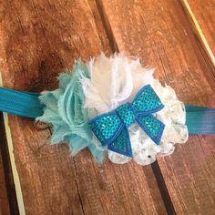Baby Headband- Blue and White Headband, Winter Headband, Newborn Headband, Toddler Headband, Photography Prop on Etsy, $6.95