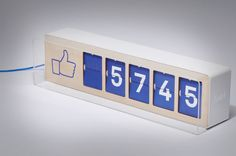 #Fliike is a facebook likes counter that can be placed on a wall, counter, or table, and is linked via #wifi to show #facebook likes as they pile up on a beautiful split flip interface. ($390)