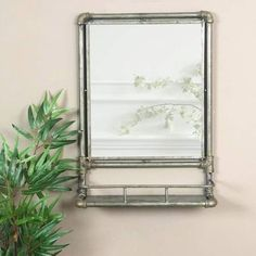 Industrial Home Shelving – Industrial Decor Magazine Industrial Metal Shelving, Industrial Mirrors, Industrial House, Wall Mirror With Shelf, Frame Shelf, Distressed Mirror, Metal Mirror, Beautiful Mirrors, Beautiful Wall